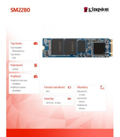 Kingston SM2280 120GB M.2 22x80mm 550/520 MB/s