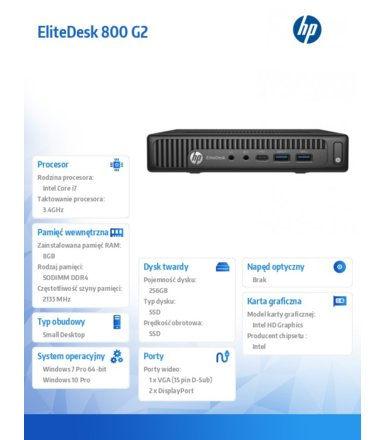 HP Inc. 800DM G2 i7-6700 256/8GB W7/10    P1G90EA