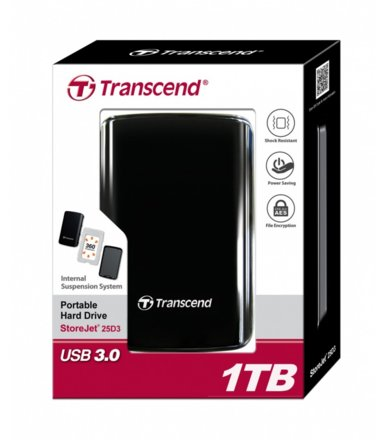 Transcend StoreJet 25 D3 1TB 2.5'' USB3.0 Black - Internal HDD suspension system