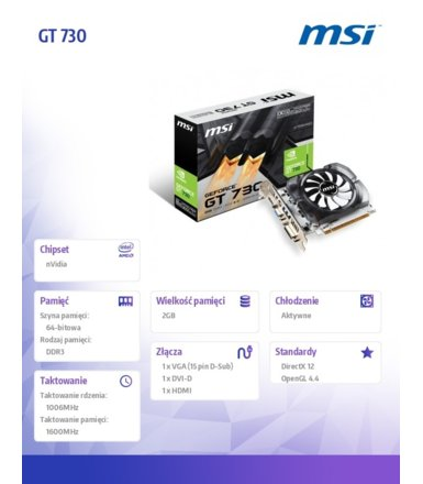MSI GT 730 2GB OCV1 DDR3 64BIT DVI/HDMI/BOX