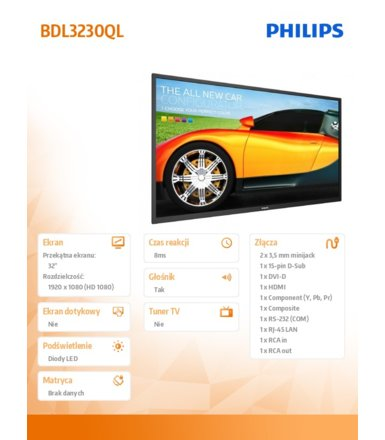 Philips 32'' BDL3230QL Direct LED Public Display 16/7 8GB eMMC
