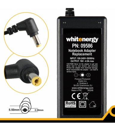 Whitenergy Zasilacz AC 230V 16V 4.5A 5,5x2,5mm