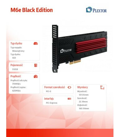 Plextor SSD 512GB M6e Black Edit PX-512M6eA-BK
