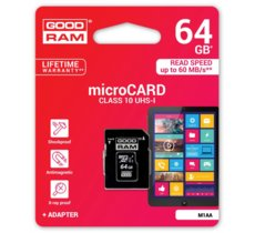 GOODRAM microSD 64GB CL10 UHS I + adapter