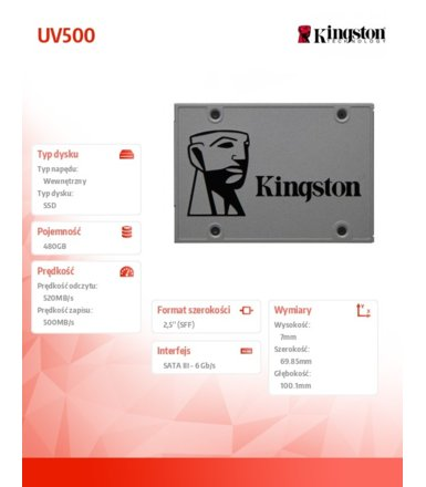 Kingston SSD UV500 SERIES 480GB SATA3 2.5'' 520/500 MB/s