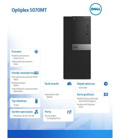 Dell Komputer Optiplex 5070 MT W10Pro i7-9700/16GB/256GB SSD/Intel UHD 630/DVD RW/KB216 & MS116/260W/3Y NBD