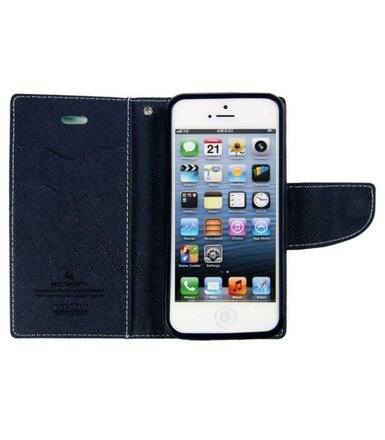 wel.com Etui skórzane Fancy do Apple iPhone 5/5s mięta-granat