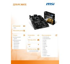 MSI Z270 PC MATE s1151 Z270 4DDR4 2M.2/2USB3.1